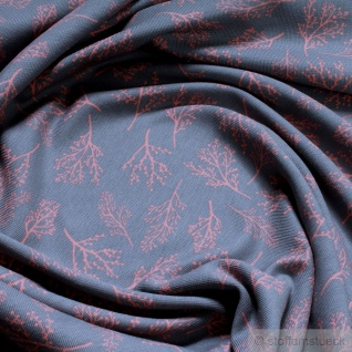 Stoff Baumwolle Lycra Single Jersey grau Nachtbeere kbA GOTS C. Pauli