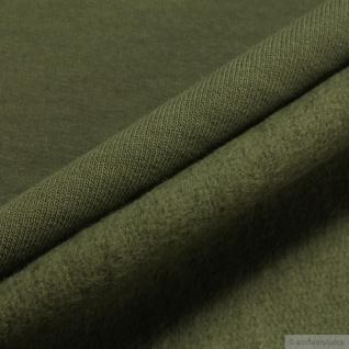 0, 5 Meter Stoff Baumwolle Single Jersey oliv angeraut Sweatshirt weich khaki - Vorschau 3