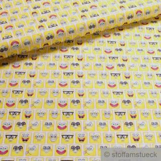 Stoff Kinderstoff Baumwolle gelb SpongeBob Baumwollstoff Schwammkopf