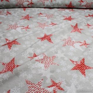 Stoff Weihnachtsstoff Baumwolle Polyester beige Stern Eiskristall Schneeflocke