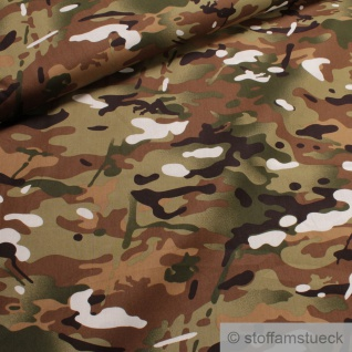Stoff Baumwolle Popeline Tarndruck braun grün Baumwollstoff Camouflage