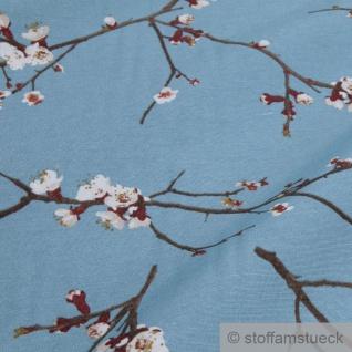 Stoff Baumwolle Polyester blau Kirschblüte Kirschblütenzweig - Vorschau 3