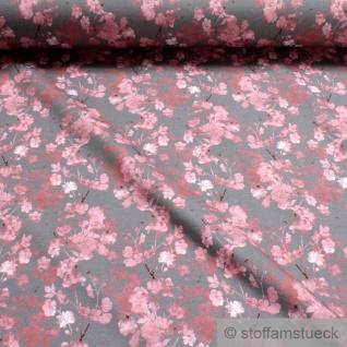 0, 5 Meter Stoff Baumwolle Elastan Single Jersey grau Röschen digital Rosen Blume