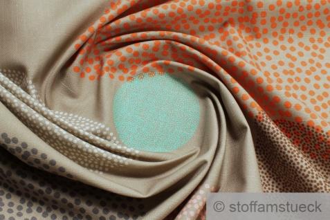 Stoff Baumwolle Panama sand Kreis orange türkis Flammgarn beige braun Pünktchen