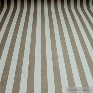 Stoff Baumwolle Acryl Blockstreifen beige weiß wasserabweisend Öko-Tex