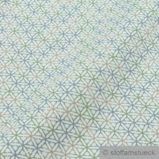 0, 5 Meter Baumwolle Elastan Single Jersey türkis Raute angeraut Schneeflocke - Vorschau 3