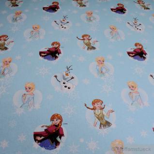 Stoff Baumwolle hellblau Eisprinzessin Anna & Elsa Olaf Frozen Disney Königin