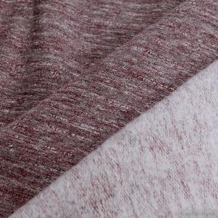 0, 5 Meter Baumwolle Polyester Single Jersey bordeaux angeraut Winter-Sweat - Vorschau 4