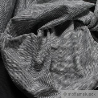 0, 5 Meter Baumwolle Single Jersey schwarz meliert Streifen leicht beidseitig