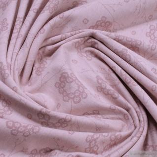Stoff Bio-Baumwolle Elastan Single Jersey pastellrosa meliert Pusteblume kbA