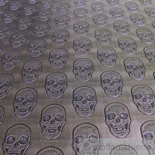 Stoff Kunstleder Totenkopf silbrig glänzend anthrazit
