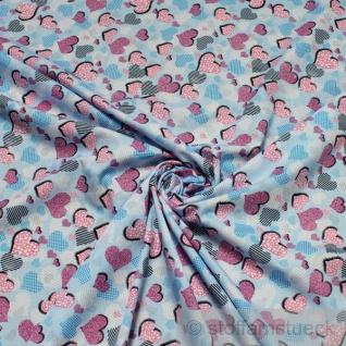 2 Meter Stoff Kinderstoff Baumwolle hellblau Herzchen Herz Baumwollstoff