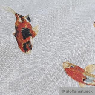 Stoff Baumwolle Polyester Rips natur Koi Karpfen Nishikigoi Spiegelkarpfen - Vorschau 4