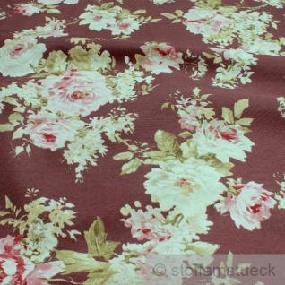 Stoff Baumwolle Polyester bordeaux Rose Rosen pflegeleicht