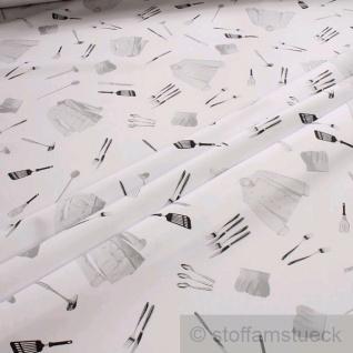 2 Meter Stoff Polyester Baumwolle Köper Hobbykoch Köchin Kochmütze Kochjacke
