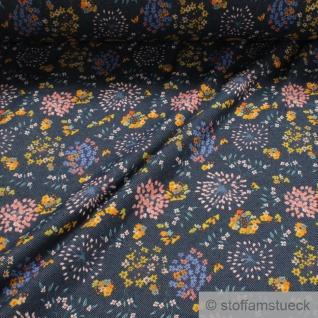 Stoff Baumwolle Polyester Elastan Alpen Jersey jeansblau Blume angeraut weich