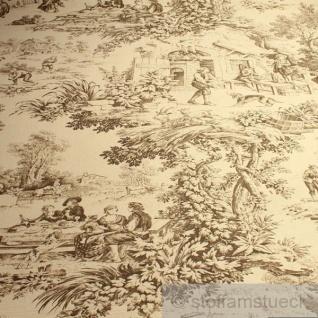 Stoff Baumwolle Rips Toile de Jouy Dorf beige braun Dorfcharakter
