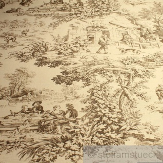 Stoff Baumwolle Rips Toile de Jouy Dorfcharakter beige braun Dorf