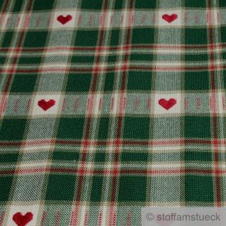 Stoff Baumwolle Karo beige grün Herz Westfalenstoffe Trondheim Baumwollstoff - Vorschau 2