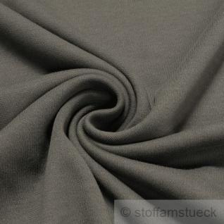 0, 5 Meter Stoff Baumwolle Interlock Jersey dunkelgrau T-Shirt weich dehnbar