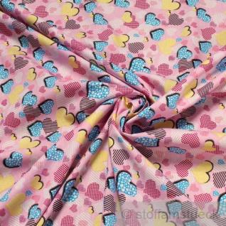 Stoff Kinderstoff Baumwolle rosa Herzchen Herz Baumwollstoff