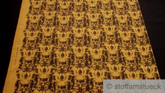 Panel Stoff Baumwolle Elastan Single Jersey ocker Wolf angeraut - Vorschau 3