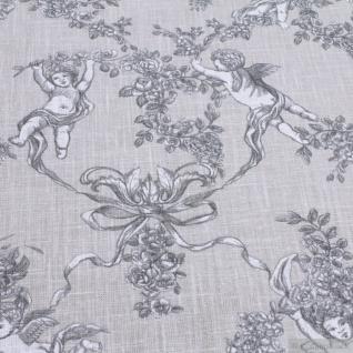 Stoff Ramie Baumwolle Toile de Jouy beige Putte Engel Chinaleinen Grasleinen - Vorschau 2