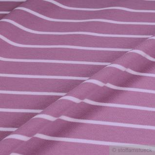 Stoff Baumwolle Interlock Jersey Streifen lavendel weiß kbA GOTS C. PAULI