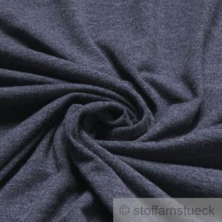 Stoff Polyester Viskose Elastan Single Jersey graublau meliert T-Shirt knitterarm