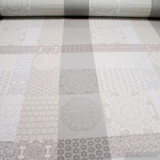 Stoff Baumwolle Jacquard beige Rosette beidseitig verwendbar
