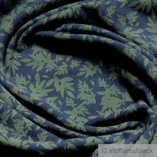 Stoff Baumwolle Elastan Single Jersey blau Blatt oliv angeraut Blätter - Vorschau 2
