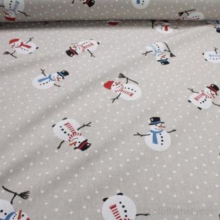 Stoff Weihnachtsstoff Baumwolle Polyester Rips natur Schneemann