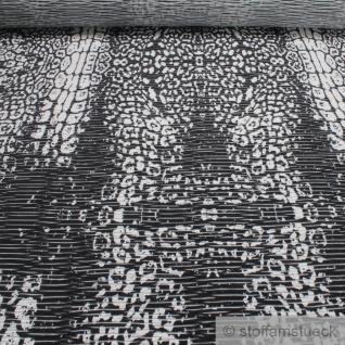 0, 5 Meter Stoff Polyester Single Jersey Leopard schwarz weiß transparent Leo