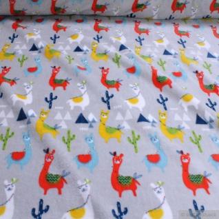 Stoff Kinderstoff Polyester Wellness Fleece hellgrau Lama Kuschelfleece