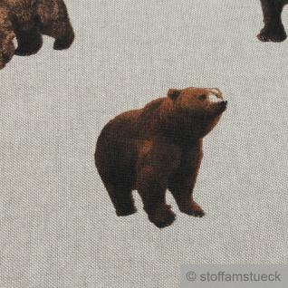 Stoff Kinderstoff Baumwolle Polyester Rips natur Bär Braunbär - Vorschau 3