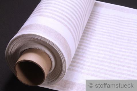 Stoff Tischläufer Leinen Bauernstreifen natur weiß Bauernleinen Geschirrtuch beige Streifen gestreift - Vorschau 1