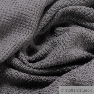 Stoff Baumwolle Frottee Waffelpiqué anthrazit Waffelpikee Waffelpique dunkelgrau
