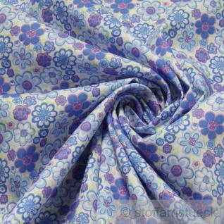 Stoff Baumwolle Popeline weiß Prilblume blau Baumwollstoff Blume