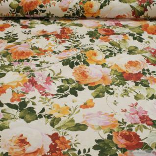 Stoff Baumwolle Polyester creme Rose Rosen Blumen allover off-white