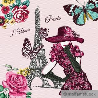 Stoff Kissen Panel Polyester Baumwolle Gobelin rose Paris Mademoiselle 50x50