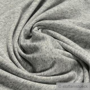 Stoff Leinen Polyester Lycra Interlock Jersey hellgrau meliert dehnbar weich