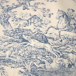 Stoff Baumwolle Rips Toile de Jouy Jagd ecru blau 280 cm breit überbreit - Vorschau 2