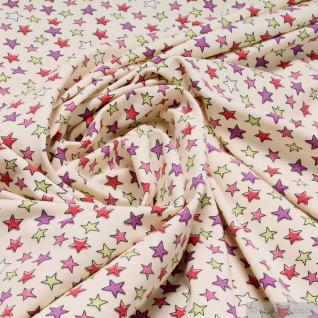 Kinderstoff Baumwolle Lycra Single Jersey ecru Sternchen bunt Oeko-Tex 100 Stern