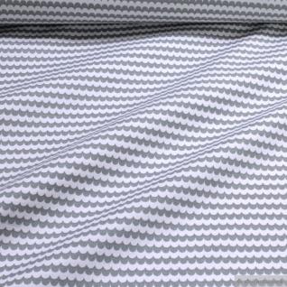 Stoff Baumwolle Popeline Welle hellgrau weiß Schuppen Baumwollstoff