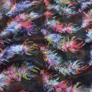 Stoff Polyester Gewirk Feder bunt transparent durchscheinend