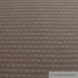 Stoff Baumwolle Elastan Single Jersey braun Raute grau Glitzer Glitter - Vorschau 2