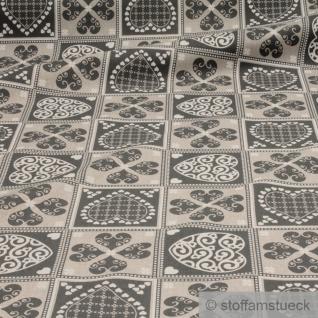 Stoff Weihnachtsstoff Baumwolle Polyester Rips natur Patchwork Herz