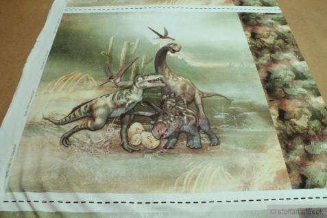 Stoff Panel Baumwolle Elastan Single Jersey Dino Dinosaurier Tyrannosaurus