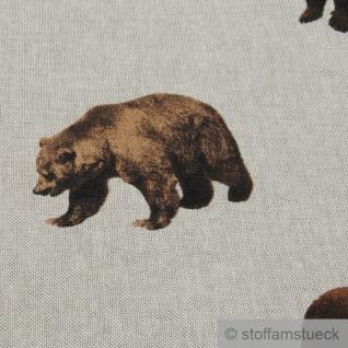 Stoff Kinderstoff Baumwolle Polyester Rips natur Bär Braunbär - Vorschau 4