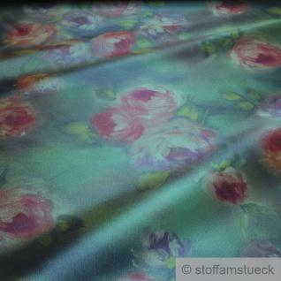Stoff Polyester Elastan Kleidertaft grün Rose violett Taft dezenter Glanz